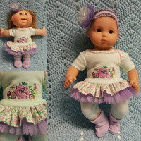 "15 inch Baby Doll Clothes ""Lavendar Roses"" doll outfit Will fit Bitty Baby® Bitty Twins®  dress capri leggings socks headband"