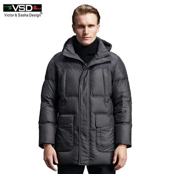 VSD 90% White Duck Down Quality Handsome Warm Long Fashion Business Style Winter Jacket Men's Clothing Casual Coat Men Parka 153