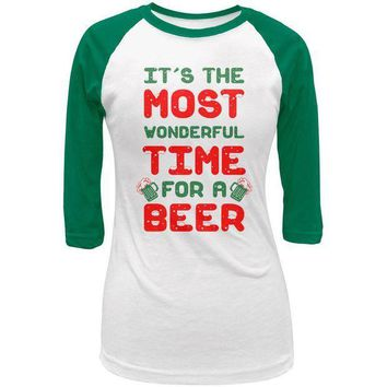 PEAPGQ9 Christmas Most Wonderful Time for a Beer Juniors 3/4 Raglan T Shirt