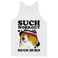 Doge Workout, Shibe Doge Workout Clothing, White American Apparel Tank Top