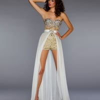 Mac Duggal Prom 2013- Ivory And Nude Jumper With Detachable Train - Unique Vintage - Cocktail, Pinup, Holiday & Prom Dresses.