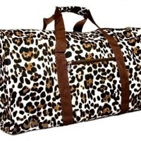 "Brown Animal Print Duffle Carrying Bag 21"" Large: Clothing"