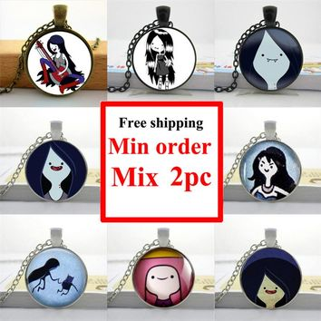 HZShinling New Fashion Adventure Time Marceline Necklace Girl Adventure Time Jewelry Glass Cabochon Dome Pendant HZ1