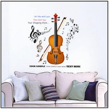 Large Violin Music Wall Sticker Decal Vinyl Art Home Decor Kids Room 70 x 50CM