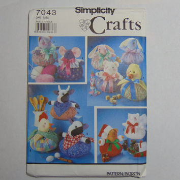 Simplicity Craft Sewing Pattern 7043 Stuffed Puffy Animals