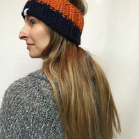 Knit Headband Ribbed Chicago Bears Colors Navy And Orange Warm And Cozy