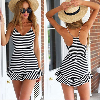 Striped Print  V-Neck Strappy Ruffled Romper