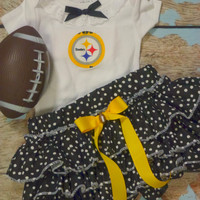Girls Pittsburgh Steelers Cheerleader Outfit, Baby Girls Steelers Coming Home Outfit, Baby Shower Gift, Girls Football Outfit Newborn to size 4