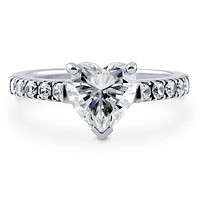 A Perfect 1.8CT Heart Cut Russian Lab Diamond Engagement Ring