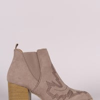 Qupid Embroidered Chunky Heeled Western Booties