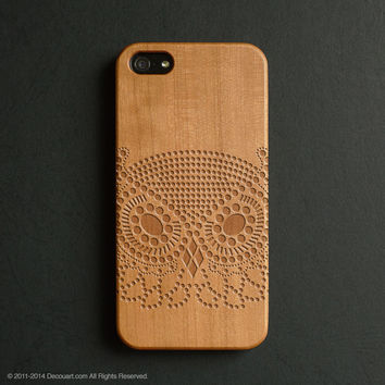 Real wood engraved owl pattern iPhone case S015