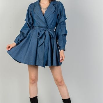 Denim Tiered Sleeve Dress