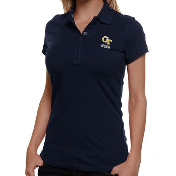 Antigua Georgia Tech Yellow Jackets Ladies Alumni Spark Polo - Navy Blue