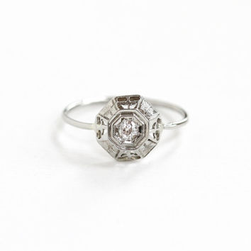 Antique Art Deco 18k White Gold Diamond Ring - 1920s Fine Vintage Stick Pin Conversion Filigree Old European Cut Fine Engagement Jewelry