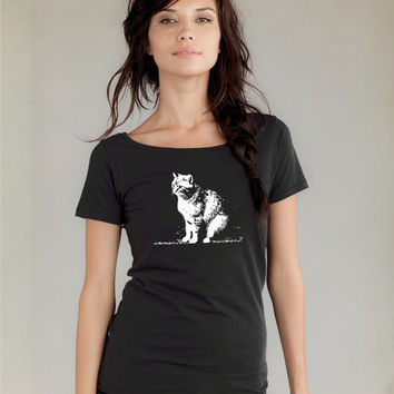 Womens cat tshirt / Alternative Apparel Organic Cotton tee / womens scoop neck tshirt / Abby / crazy cat lady / trending / cat fashion