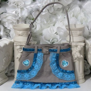 Girls Purse - Blue Purse - Childs Gift - Gifts For Her - Gifts For Toddler - Girls Birthday Gifts - Heart Gifts - Denim Accessories - Gifts