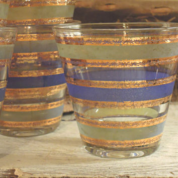 Vintage Culver Set of Six Rock Glasses / Barware Martini Glasses with Gold Wide Rim / 22 kt Gold Blue Green / Cocktail Glasses