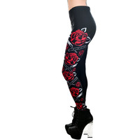 Rockabilly Lady Switchblade Roses Lexy Leggings