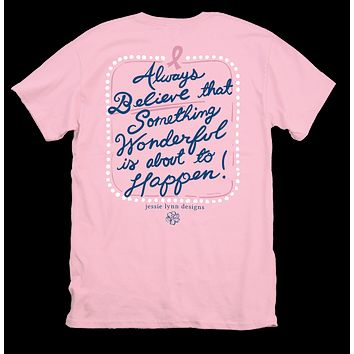 Itsa girl Thing Hope Breast Cancer Believe Bright Girlie T-Shirt