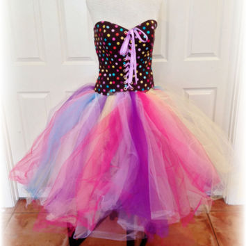 adult tutu dress, corset tutu dress, polka dot birthday party dress, sweet 16 dress, tea length tutu dress,