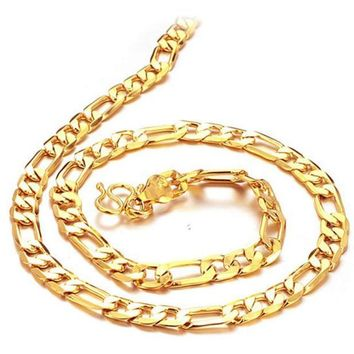 New Men Gift Plated  Chunky Necklace Curb Cuban Link Chain Necklace Men Jewelry