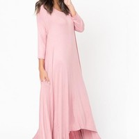 Free Falling Long Sleeve Maxi Dress - Blush
