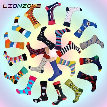 2018 New Arrived Brand Men Socks Funny 22 Colors British Style Designer Happy Socks Cotton Long Chaussettes Homme Fantaisie