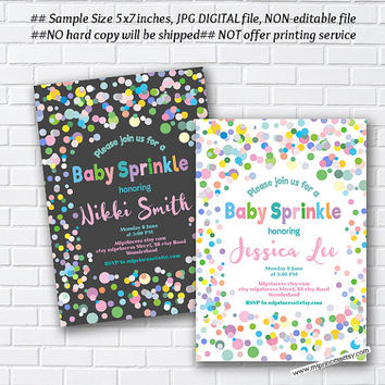Confetti Baby sprinkle invitation, rainbow Sprinkle shower, baby shower invitation, Confetti baby shower , baby girl baby boy -card 1014