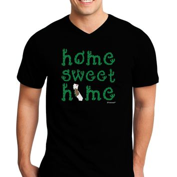 Home Sweet Home - California - Cactus and State Flag Adult Dark V-Neck T-Shirt by TooLoud