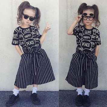 Child Kids Girls Short Sleeve Print Blouse Tops+Wide Leg Pants Outfits Clothes
