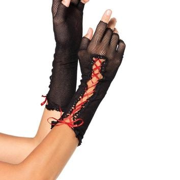 Leg Avenue Female Lace Up Fishnet Fingerless Gloves 2129