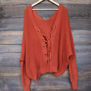 Oversize Grommet Lace Up Back Sweater   Rust