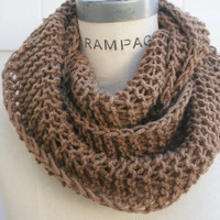 Brown Infinity Scarf Brown Scarves Hand Knit Scarf Winter Neckwarmer - By PIYOYO