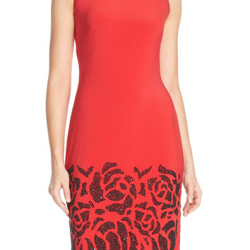 Chetta B Embellished Jersey Sheath Dress