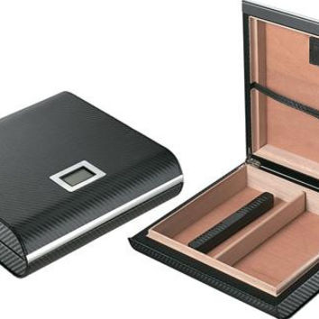 Visol Black Carbon Fiber Patterned Cigar Travel Humidor - Holds 18 Cigars