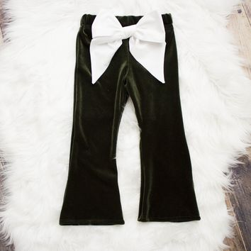 Olive Bow Velvet Bell Bottoms for Babies and Toddlers
