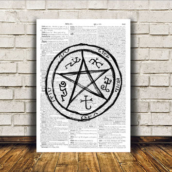 Witch art Pentacle print Modern decor Occult poster RTA395