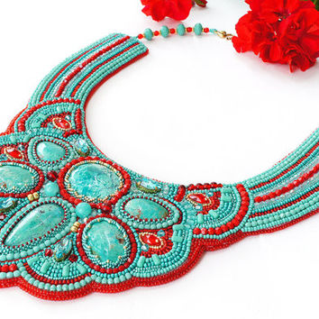 "Bead embroidered necklace ""Indira"". Necklace with Chrysocolla and Swarovski crystals. Bead embroidery. Beaded necklace. Colorful necklace"