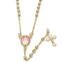 Gold Layered 09.02.0037.18 Thin Rosary, Caridad del Cobre and Crucifix Design, Pink Resin Finish, Golden Tone