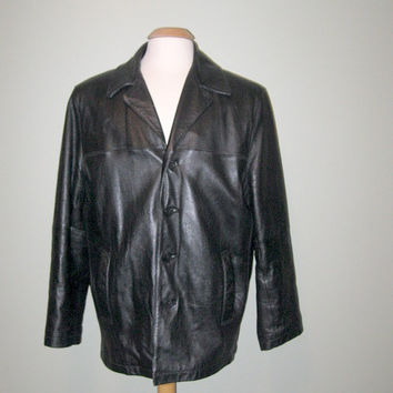 Vintage 80s Black Leather Blazer Jacket / Men / size Medium / Wilsons Leather Jacket / Holiday Fashion