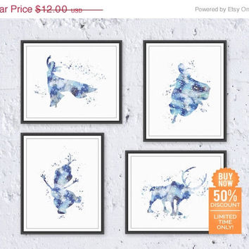 Frozen Print Disney Print Set Frozen Elsa Print Frozen Anna Print Watercolor Printable Disney Print Set Disney Nursery Digital Download Art