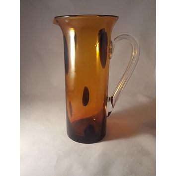 Amber Art Glass Pitcher by Gorgeous Design of China