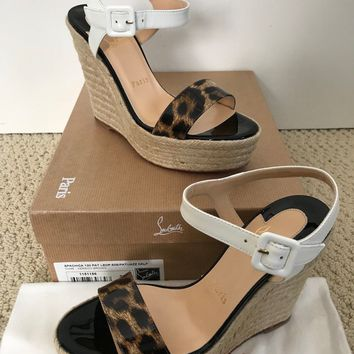 NIB Auth Christian Louboutin Spachica Leopard Patent Platform Wedge Sandals 37 7