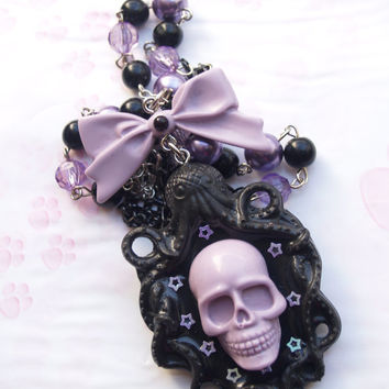 Necklace necklace Octopus Skull Pastel Goth Kawaii