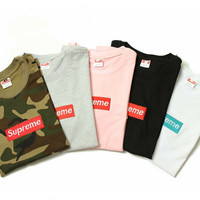"""""""Supreme"""" Fashion Casual Letter Embroidery Short Sleeve Unisex T-shirt Couple Shirt Top Tee"""