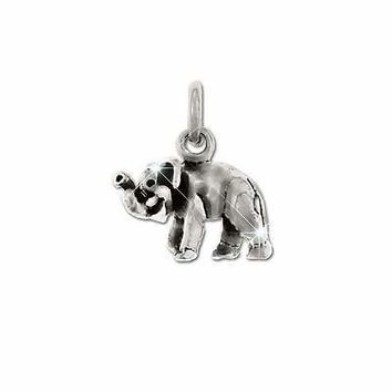 Sterling Silver Trumpeting Elephant Charm Pendant