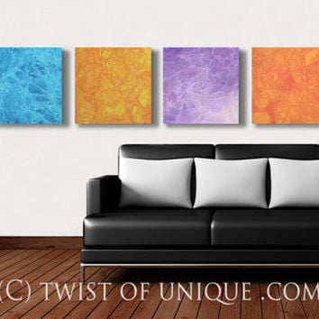 Southwest sunrise Abstract Painting / ORIGINAL 4 square panel ( 15 Inch  x 15 Inch) / Minimalist Wall Art / blue, Orange, Purple, Red