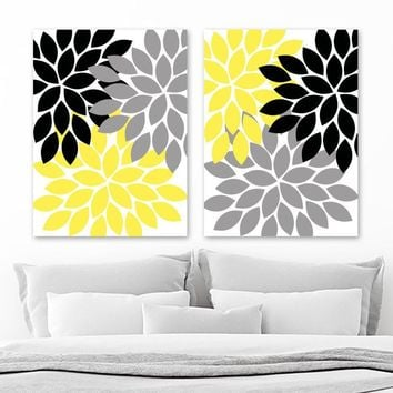 Flower Wall  Art, Gray Yellow Black Bedroom Canvas or Prints, Yellow Black Bathroom Decor, Yellow Black Flower Art, Set of 2 Artwork