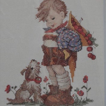 Free Us Shipping, Vintage Cross Stitch Kit, Needle Treasures, M. I. Hummel, Not For You, 8x10, Needlework Pattern Tutorial Boy and Dog