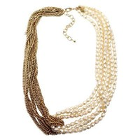 Conjoined Multistrand Acrylic Pearl and Gold Chain Necklace